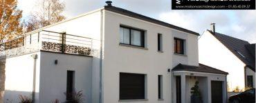 77 Brie Comte Robert Construction par Constructeur Design Architecte d une maison neuve individuelle sur mesure contemporaine moderne 4 pans toit terrasse enduit bicolore grandes baies