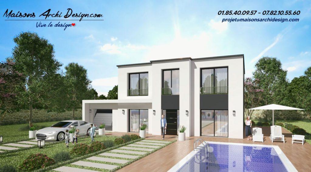 Elegance T TT plan modele maison toit terrasse par votre constructeur sur mesure haut de gamme toiture plate
