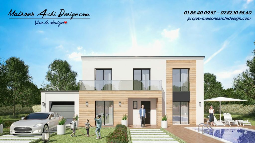 Prestige 2 TT Wood plan modele maison toit terrasse architecture design toit plat