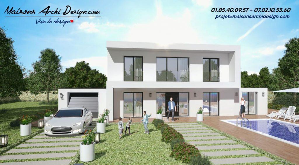 S Modele maison toit plat avec debord beton et grandes baies Archidesign