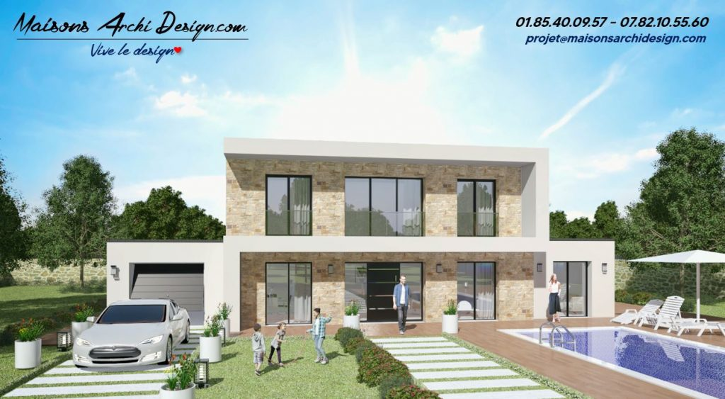 S Stone Maison toit plat vegetalise bioclimatique moderne